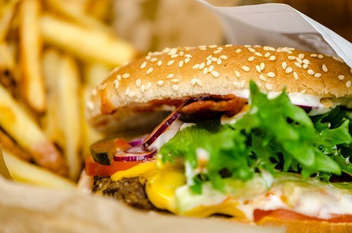 Burgers, French Fries, French, Beef, Vegetables, Salad