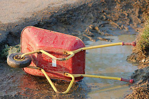 Wheelbarrows, Toys, Children Toys, Mud, Puddle