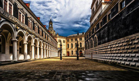 Dresden, Castle, Courtyard, Saxony, Architecture
