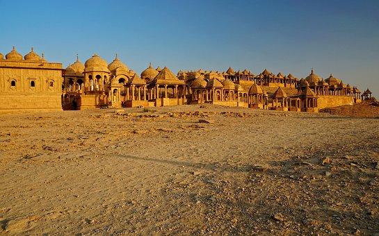 Panorama, Desert, Old, Bada Bagh, Temple, Cultural Site