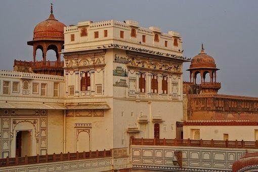 Bikaner, Palace, India, Architecture, Travel, Sky, Old