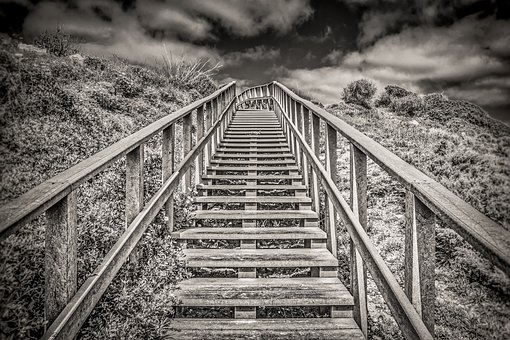 Stairs, Beach, Outdoors, Step, Nature, Wood, Monochrome