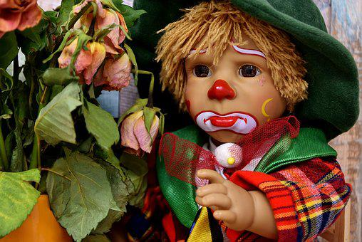Clown, Sad, Roses, Withered, Doll, Cute, Children