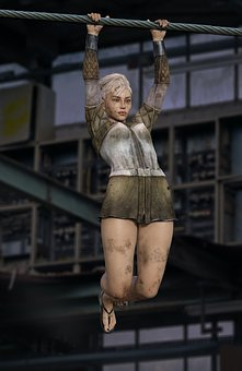 Woman, Glimmzug, Hangs, Wire Rope, Adventure, Hall