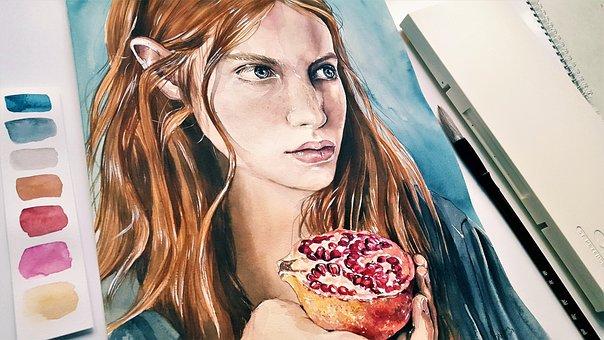 Art, Painting, Woman, Girl, Watercolor, Brush, Paper