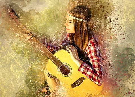Girl, Female, Person, Adult, Guitar, Music, Instrument
