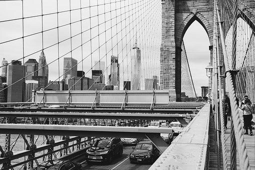 Brooklyn Bridge, New York, Usa, America, Bridge