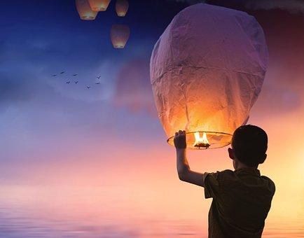 Balloon, Lantern, Light, Sky, Boy, Sunset, Dusk