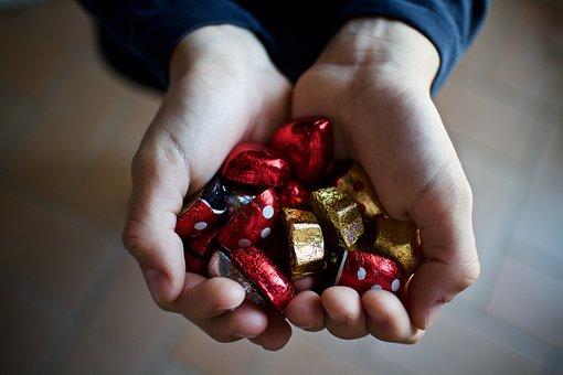 Chocolates, Chocolate, Sweets, Donate, Hand, Child, Guy