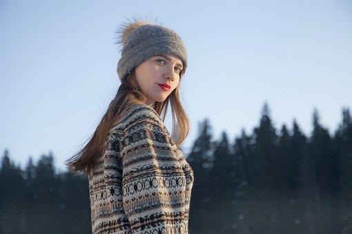 Girl, Nature, Winter, Forest, Lovely