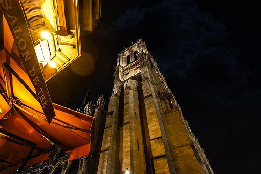 Night, Paris, Notre Dame, Cathedral, Bell, Tower