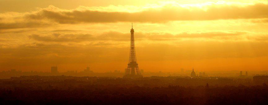 Sunset, Dawn, Sky, Cut, Twilight, Paris, France, Symbol