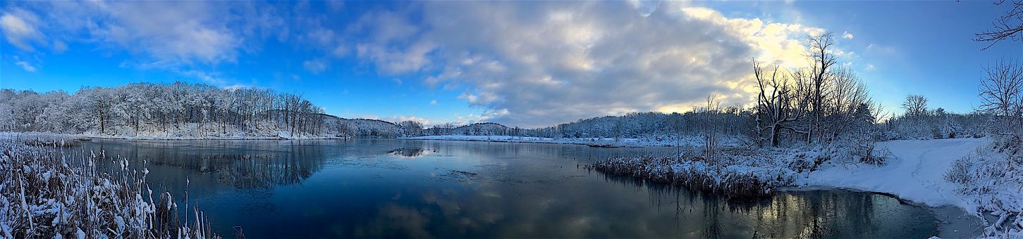 Panoramic, Landscape, Nature, Water, Pond, Snow, Winter
