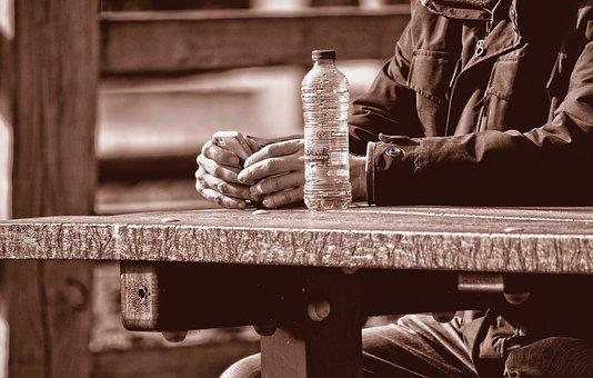 Hand, Person, Man, People, Sitting, Table Top, Bottle
