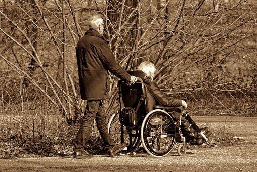 Man, Woman, Persons, People, Elderly, Walking, Sitting