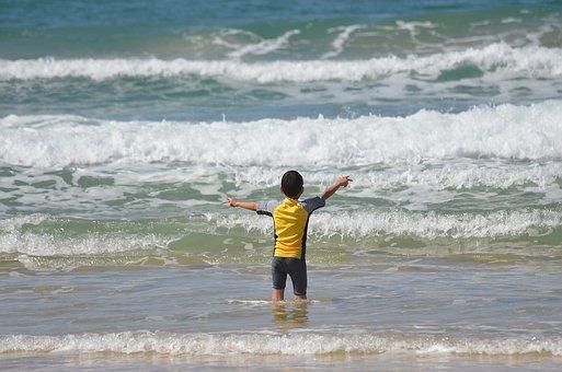 Water, Sea, Beach, Surf, Ocean, Boy, Sun, Wave, Outdoor