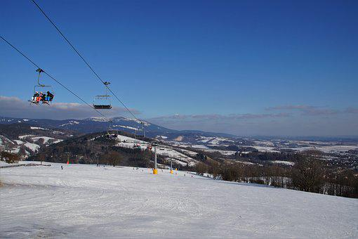 Cableway, Seater, Skiers, Winter