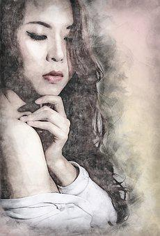 Women, Beautiful, Page, Long Hair, Red Lips, Asia, Girl
