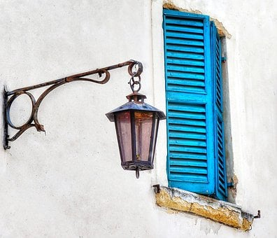 Street, View, Lamp, Old, Shuttered, Window, Blue, White