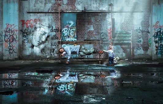 Walls, Urban, Reflection, Dirty, Abandoned Building