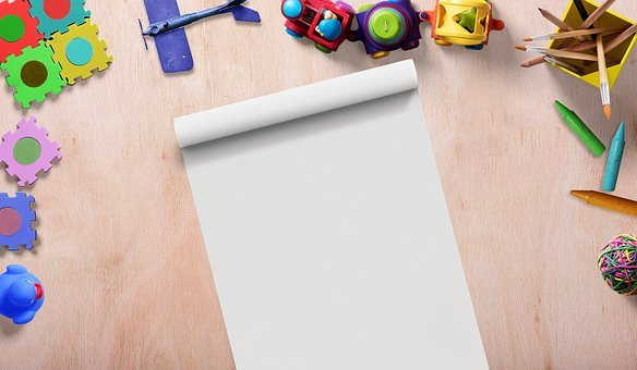 Toys, Frame, Writing Pad, Drawing Pad, Background Image