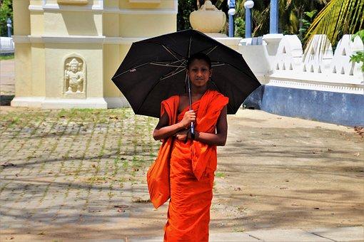 Umbrella, Buddhist, At The Court Of, Travel, Man