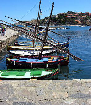 France, Coliure, Boat, Body Of Water, Sea, Travel, Side