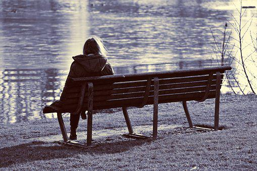 Woman, Person, People, Solitary, Alone, Sitting, Bench