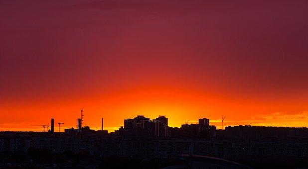 Sunset, Dawn, No One, Twilight, Sky, Panoramic