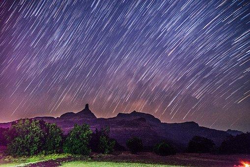 Sky, Nature, Landscape, Mountain, Travel, Star Trail