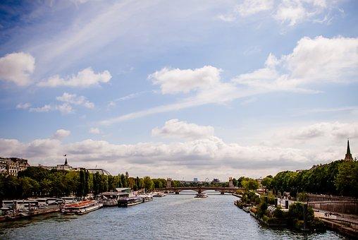 Seine River, Paris, Landscape, Boat, Eiffel Tower