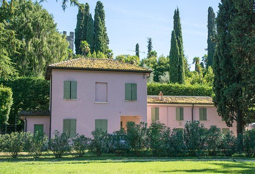 Villa, Italian, Pink, Sirmione, Lake Garda, Nature