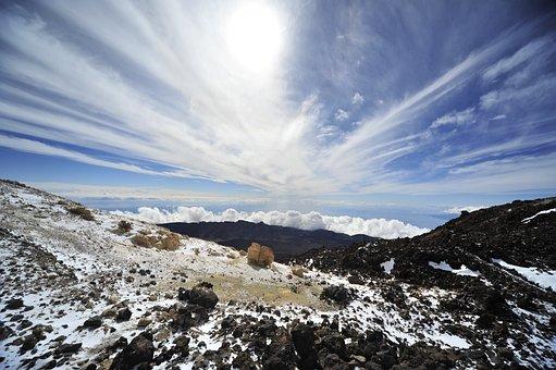 El Deep, Volcano, Located, Sky, Mountain, Sun, Cold