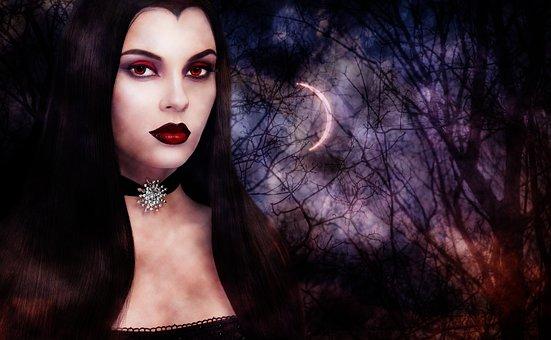 Woman, Portrait, Dark, Gothic, Vampire, Half Moon