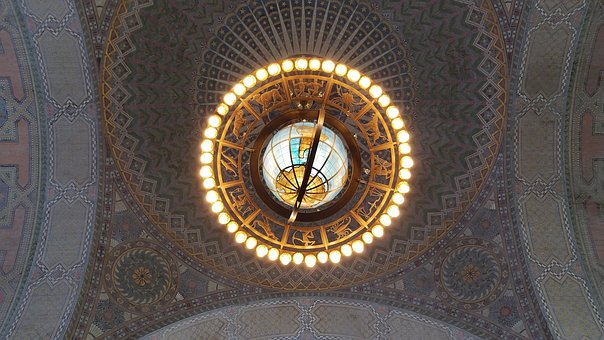 Gold, Old, Round, Time, Pattern, Mosaic, Art, Ceiling