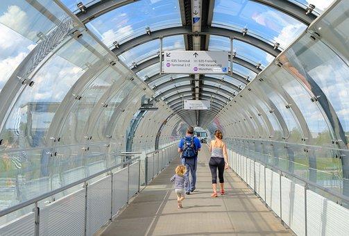 Modern, Glass, Terminal, Airport, Summer, Munich