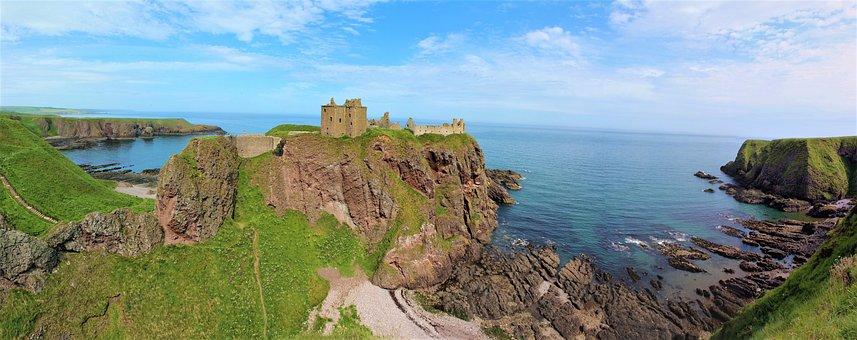 Sea, Panorama, Nature, Coast, Waters, Rock, Castle