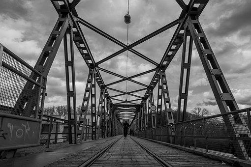 Steel, Bridge, Industry, Black And White, Sky, Gloomy