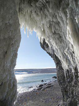 Sea, Rocks, The Grotto, Ice, Icicles, Icing, Landscape