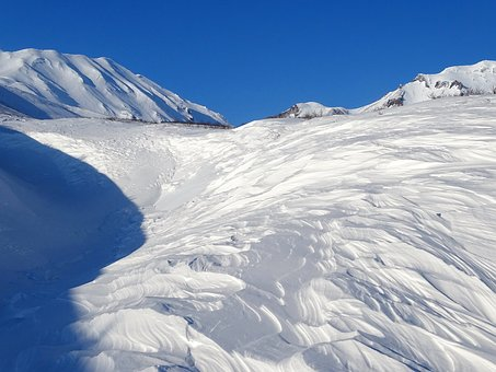 Mountains, Volcano, The Foot, Winter, Wind, Snow