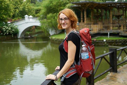 Women's, Tourist, Tourism, Backpack, Bag, Orange