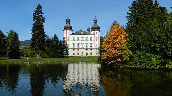 Vrchlabi Castle, Autumn, Reflection, Trees, Water-level