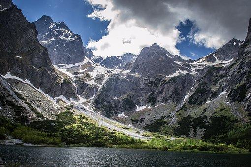 Lake, Mountains, Clouds, Sky, Mountain Lake, Tatras