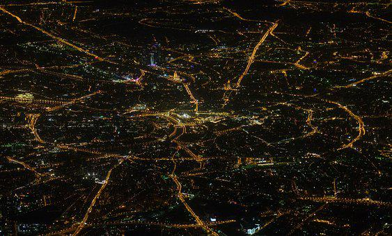 Moscow, Night, Map, Plane, View, Air, Aerial, Airplane