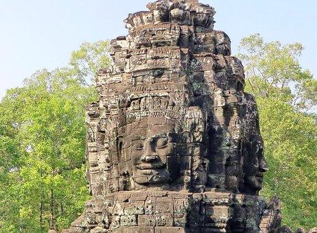 Cambodia, Angkor, Bayon, Temple, Wat, Antique, Pierre