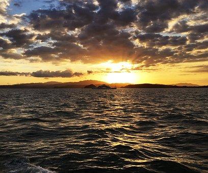 Sunset, Body Of Water, Sol, Mar, Nature, Horizontal