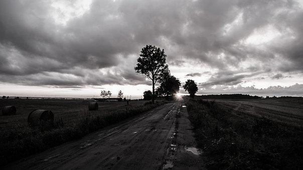 Road, Nightfall, Black And White