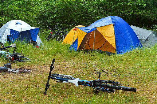 Bike, Camping, Rain, Tent, Camp, Forest, Nature