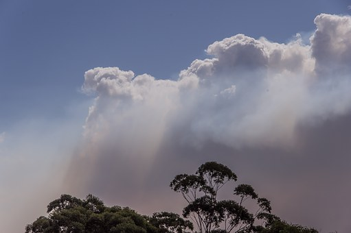 Smoke, Clouds, Bushfire, Fire, Sky, Grey, Blue, White