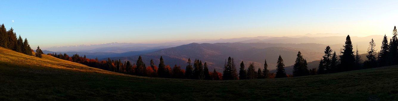 Mountains, Panorama, View, Sunset, Moonrise, Tops